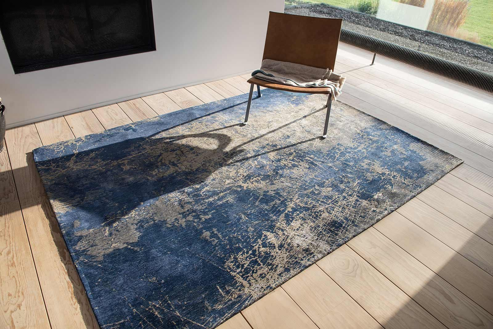Louis De Poortere rug LX 8629 Mad Men Cracks Abyss Blue interior 2